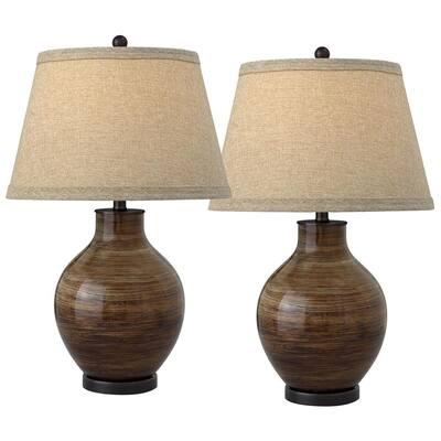 Venezia 28 in. Brown Coffee Brushstrokes Table Lamp (Set of 2)