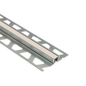 Dilex-KSN Aluminum with Cream Insert 1/2 in. x 8 ft. 2-1/2 in. Metal Movement Joint Tile Edge Trim