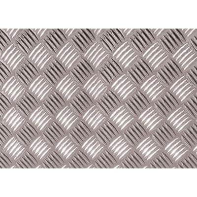 17.75 in. x 4 ft. 9 in. Silver Diamond Plate Decorative Vinyl Decal