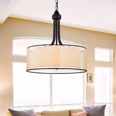 Copper 22 in. 4-Light Indoor Bronze Chandelier with Light Kit