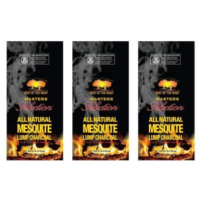 Masters Mesquite Lump Grilling Charcoal 20 lbs. Bag (3-Pack), Wood Chunks