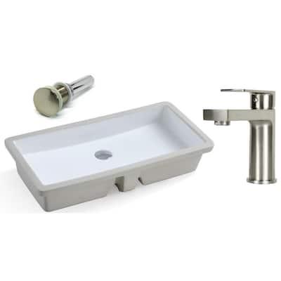 27-13/16 in. Rectangle Undermount Ceramic Vessel Sink in Pure White