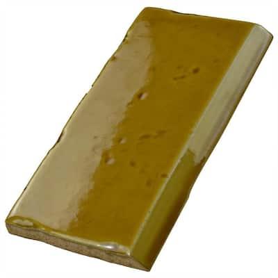 Novecento Zocalo Camel 2-1/2 in. x 5-1/8 in. Ceramic Subway Wall Trim Tile