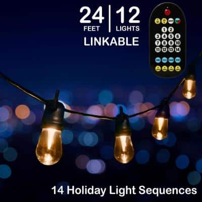 24 ft - 12 Color Changing Shatter Proof LED Lights - Holiday Cafe Bistro Lights - 14 Holiday Light Sequences