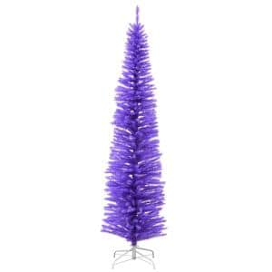 7.5 ft. H Lavender Slim Matte Artificial Christmas Tree with White Stand