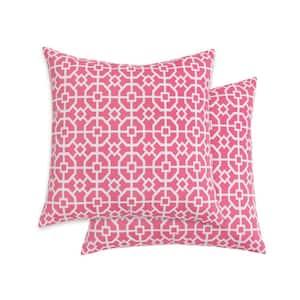 Shoji Trellis Flamingo Square Outdoor Throw Pillow (2-Pack)