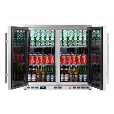 Single Zone 35.4 in. 169 (12 oz.) 2-Door Stainless Steel Beverage Can Cooler
