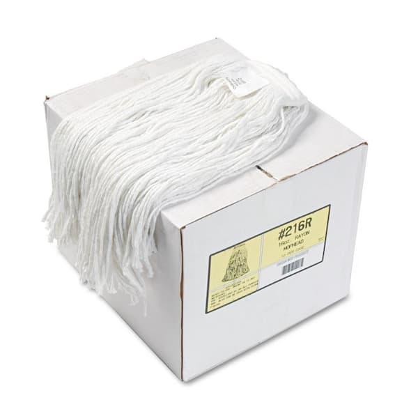 12//Carton BWK724RCT 24oz Cut-End Lie-Flat Wet Mop Head White Rayon