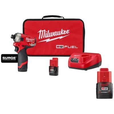 M12 FUEL SURGE 12-Volt Lithium-Ion Brushless Cordless 1/4 in. Hex Impact Driver Compact Kit W/ 2.0 Ah Battery