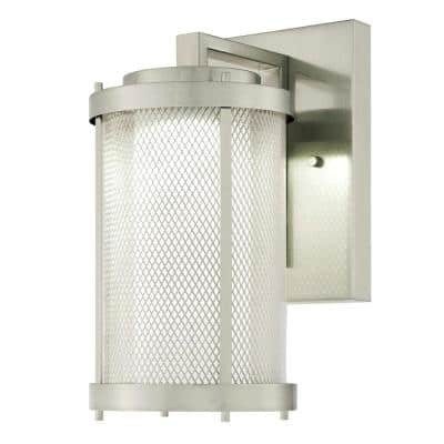 Skyview Brushed Nickel 1-Light Outdoor Integrated LED Wall Lantern Sconce