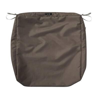 Ravenna 25 in. W x 25 in. D x 5 in. H Square Patio Seat Cushion Slip Cover in Dark Taupe