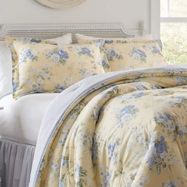 Laura Ashley Maybelle 4 Piece Yellow, Laura Ashley Bedding Blue And Yellow