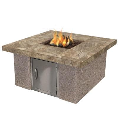 Stucco and Tile Gas Fire Pit in Brown with Log Set and Lava Rocks