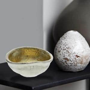 Gold and Silver Large Aluminum Bowl with Shimmering Gold Leaf Interior