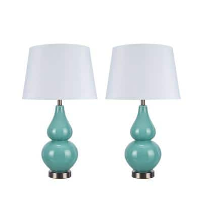 26 in. Turquoise Glass Table Lamp with Hardback Empire Shaped Lamp Shade in White (2-Pack)
