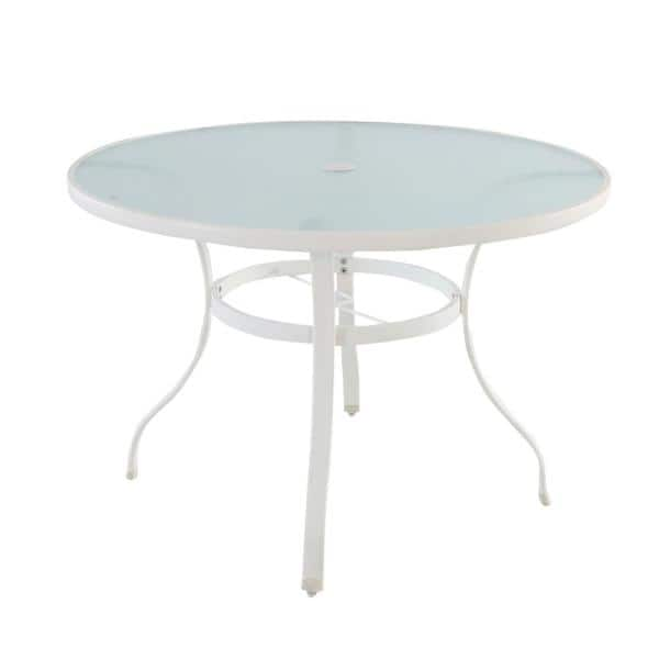 Round Glass Outdoor Patio Dining Table, Round Glass Patio Table