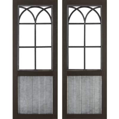 12 in. x 1 in. x 31.5 in. Metal Espresso Willow Farmhouse Window Wall Plaque 2-Piece Set