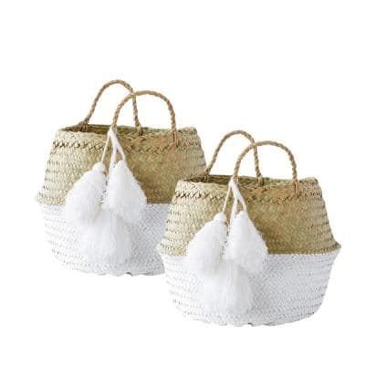 Beige and White Collapsible Palm Leaf Baskets with Large Tassels (Set of 2 Sizes)