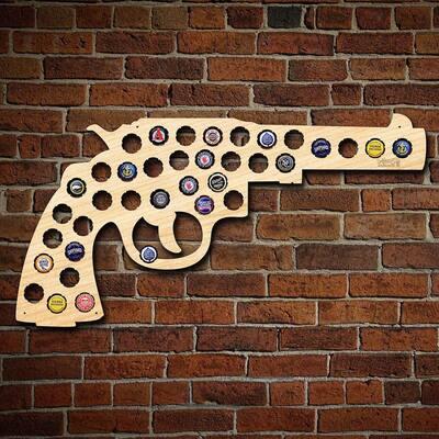 24 in. x 12 in. Large Gun/Revolver Beer Cap Map