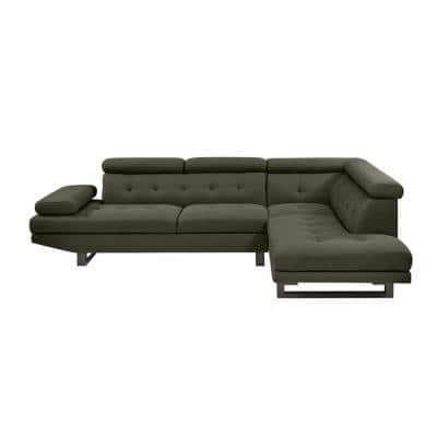 Phoebe 2-Piece Basil Gray Linen-Like Fabric 4-Seat L-Shaped Right Facing Sectional