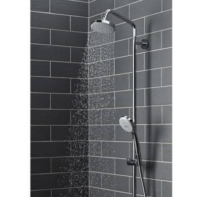 4-spray 5.375 in. Dual Shower Head and Handheld Shower Head in Chrome