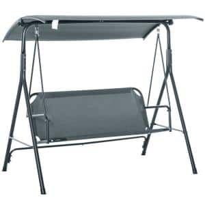 3-Person Grey Metal Patio Swing with Weather-Resistant Canopy