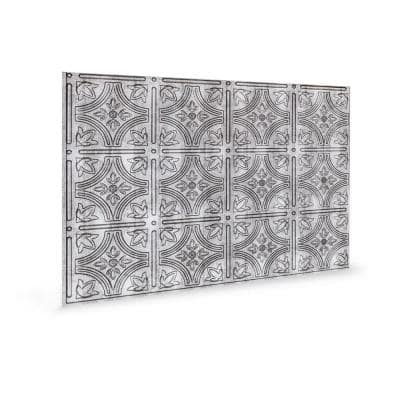 18.5'' x 24.3'' Empire Decorative 3D PVC Backsplash Panels in Crosshatch Silver 1-Piece