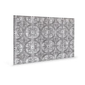 24.3 in. x 18.5 in. Empire Decorative 3D PVC Backsplash Panels in Crosshatch Silver (12-Pieces)