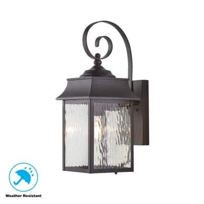 Scroll 1-Light Black Outdoor Wall Lantern Sconce with Water Glass