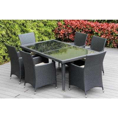 Black 7-Piece Wicker Patio Dining Set with Supercrylic Beige Cushions