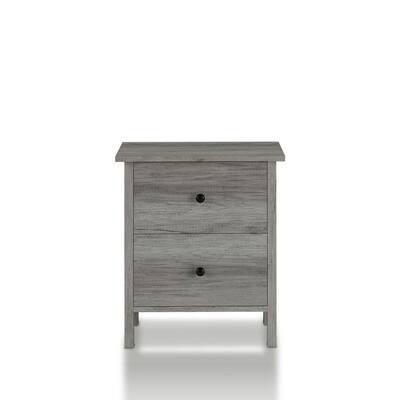 Aylin 2-Drawer Vintage Gray Nightstand
