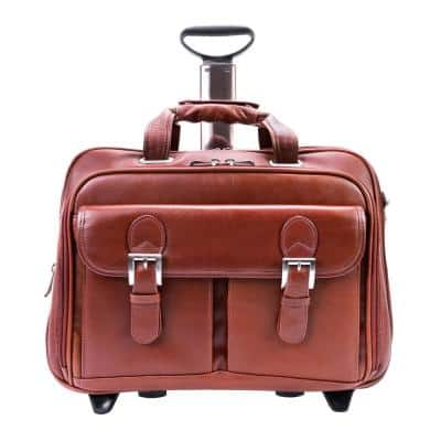 Siamod Ceresola Napa Cashmere Leather 15 in. Checkpoint-Friendly Detachable -Wheeled Laptop Briefcase
