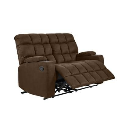 57 in. Dark Brown Polyester 2-Seater Reclining Loveseat with Cupholders