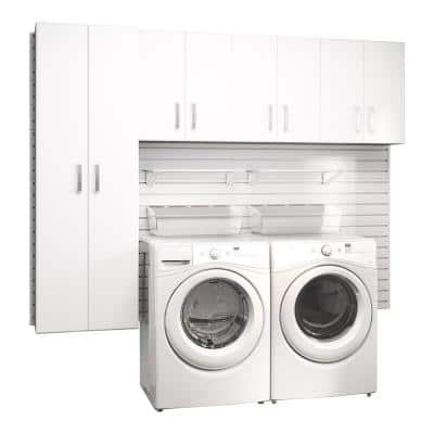 Modular Laundry Room Storage Set with Accessories in White (4-Piece)