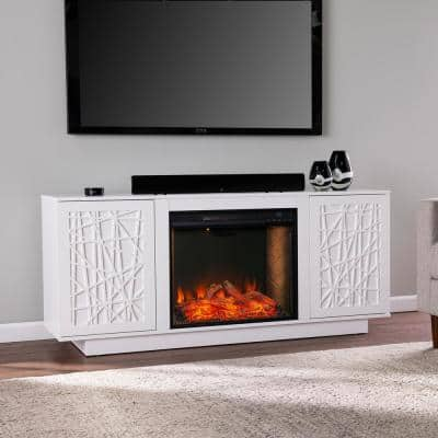 Luke 60 in. Alexa Enabled Smart Electric Fireplace in White