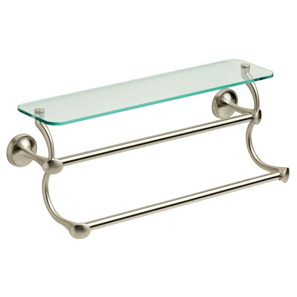 Delta 18 In Glass Shelf With Double Towel Bar In Spotshield Brushed Nickel Exten20 Bn The Home Depot