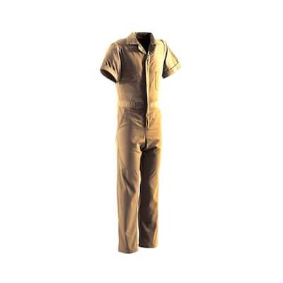 Men's Medium Regular Tan Polyester and Cotton Poplin Blend Poplin Short Sleeve Coverall