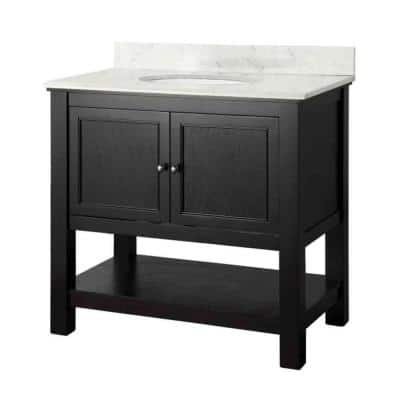 Gazette 37 in. W x 22 in. D Bath Vanity in Espresso with Marble Vanity Top in Carrar