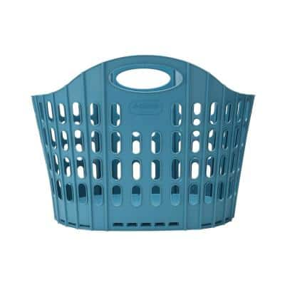 38 Gal. Blue Collapsible Plastic Laundry Basket