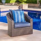 Mixed Brown Aluminum-Framed Wicker Outdoor Lounge Chair with Navy Blue Cushion