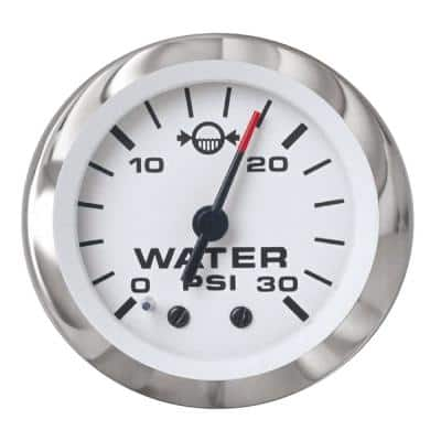 Lido 2 in. White and Stainless Steel Outboard Motor 0 PSI - 30 PSI Dial Range Water Pressure Gauge