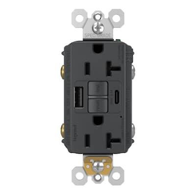 radiant 20 Amp 125-Volt Tamper Resistant Self-Test GFCI Duplex Outlet with Type A/C USB, Graphite