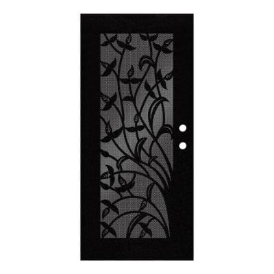 36 in. x 80 in. Yale Black Right-Hand Surface Mount Security Door with Black Perforated Metal Screen