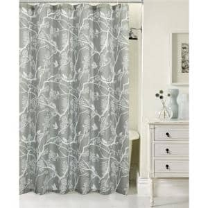 Printed Waffle 70 in. x 72 in. 13-Piece Shower Curtain Set in Birds