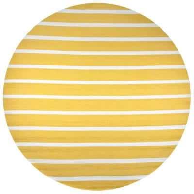 Azzura Hill Gold Striped 8 ft. x 8 ft. Round Indoor/Outdoor Area Rug