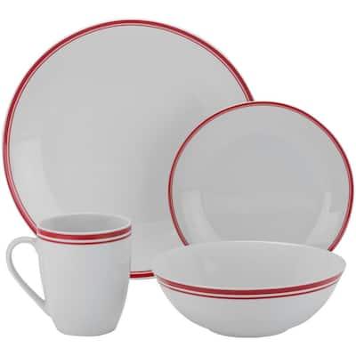 16-Piece Casual Red Porcelain Dinnerware Set