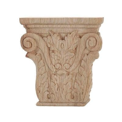 4 in. x 3-7/8 in. x 1 in. Unfinished Hand Carved North American Solid Red Oak Acanthus Wood Onlay Capital Wood Applique
