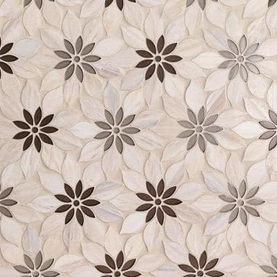 Thistle Ivory 12.4 in. x 14.13 in. Polished Marble Mosaic Tile (1.21 sq. ft./Sheet)