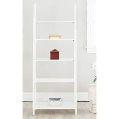 72.2 in. White Wood 5-shelf Ladder Bookcase with Open Back