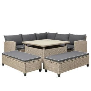 6-Piece Light Brown Wicker Outdoor Patio Conversation Set with Gray Cushions